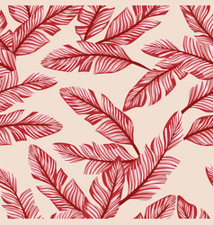 Abstract seamless composition red banana leaves vector