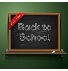 Back to school blackboard on the shelf vector image