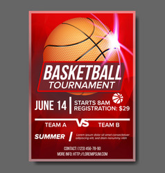 basketball poster tournament banner vector image