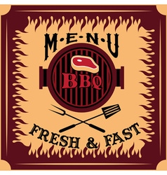 bbq menu card design template vector image