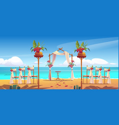 Beach wedding arch and decoration on seaside vector