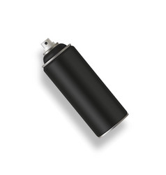 black paint aerosol spray metal bottle can vector image
