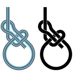 Bowline loop climbing rope knot symbols vector