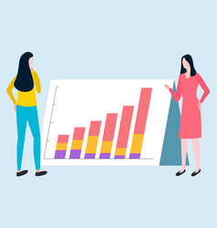 Business report rising graph broker women vector