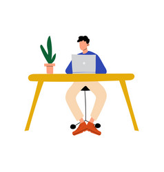 businessman or office worker sitting at desk and vector image