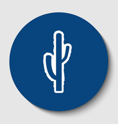 Cactus simple sign white contour icon in vector