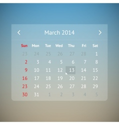 Calendar page for March 2014 vector image