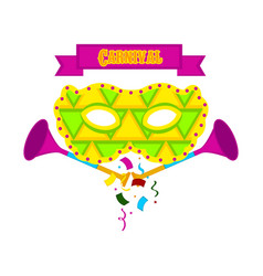 Carnaval mask with party trumpets vector