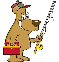 cartoon bear holding a fishing rod vector image