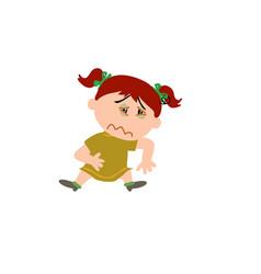 Cartoon character girl sick vector