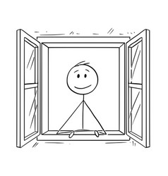 cartoon of man looking through open window vector image