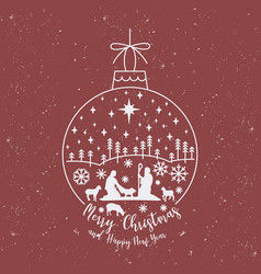 christmas cribe scene on ball vector image