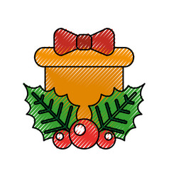 christmas gift box holly berry bow decoration vector image