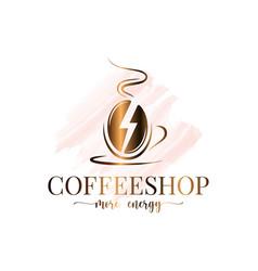 Coffee bean watercolor logo coffee energy concept vector