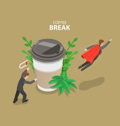 coffee break flat isometric conceptual vector image