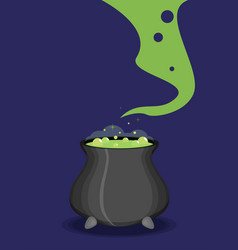 Color witch pot with potion in cartoon style vector