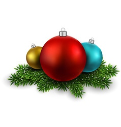 Colorful balls on christmas eve branches vector