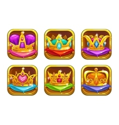 Cool game icons with golden rare crowns vector image