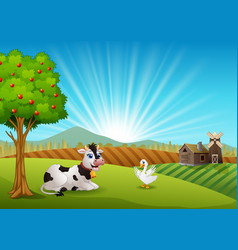 Cow and goose in the farm at morning vector