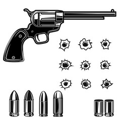 cowboy revolver bullets bullet holes design vector image