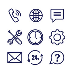 customer service set icons vector image