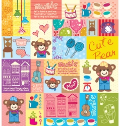 Cute bear hat pattern vector