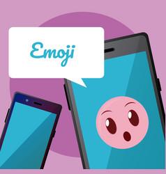Cute emoji on smartphone vector
