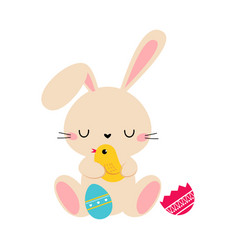 cute little bunny holding spring birdie adorable vector image