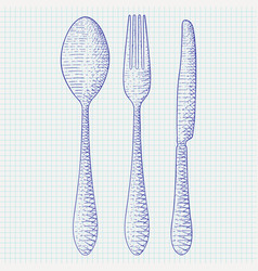 cutlery - spoon fork knife hand drawn sketch on vector image