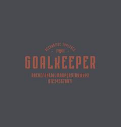 decorative narrow sans serif font in sport style vector image