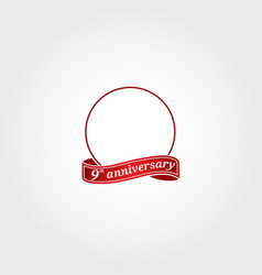 Decorative red frame with red ribbon anniversary vector