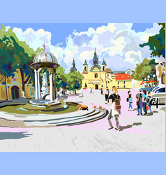 Digital painting of sunny day in the city vector