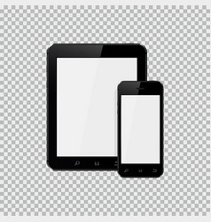Digital tablet and mobile phone mockup vector