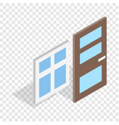 Door and window isometric icon vector