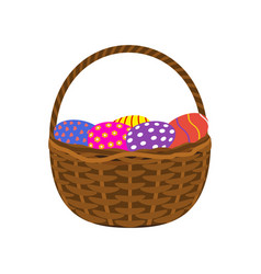Easter eggs in a basket on a white background vector