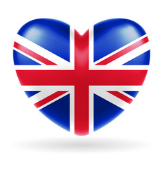 england united kingdom flag heart shape vector image
