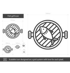 Fish grill line icon vector