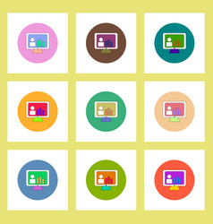 Flat icons set column chart on monitor concept vector