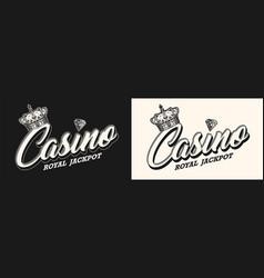 gambling vintage monochrome label vector image