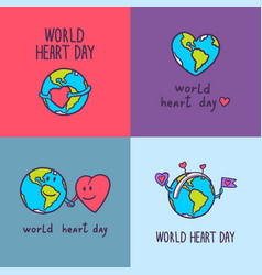 global heart day banner set hand drawn style vector image