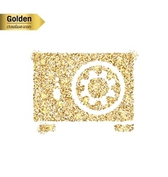 Gold glitter icon of safe box isolated on vector image