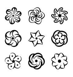 graphic flower shapes set black floral elements vector image vector image