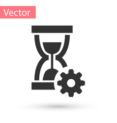 Grey hourglass and gear icon isolated on white vector