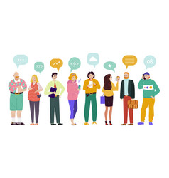 group people speech bubbles comunication vector image