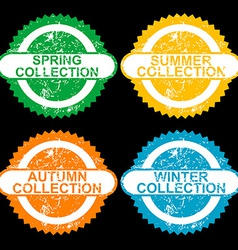 Grunge stamps with collections for each seasons vector image