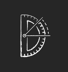 half circle protractor chalk white icon on black vector image
