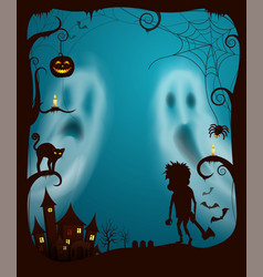 halloween ghosts and night spooky cemetery vector image