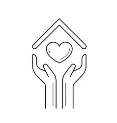 hands holding house symbol with heart line icon vector image