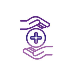 Hands medical care charity help donation vector