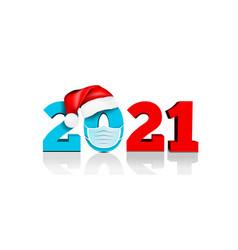 happy new year 2021 figures under hat vector image